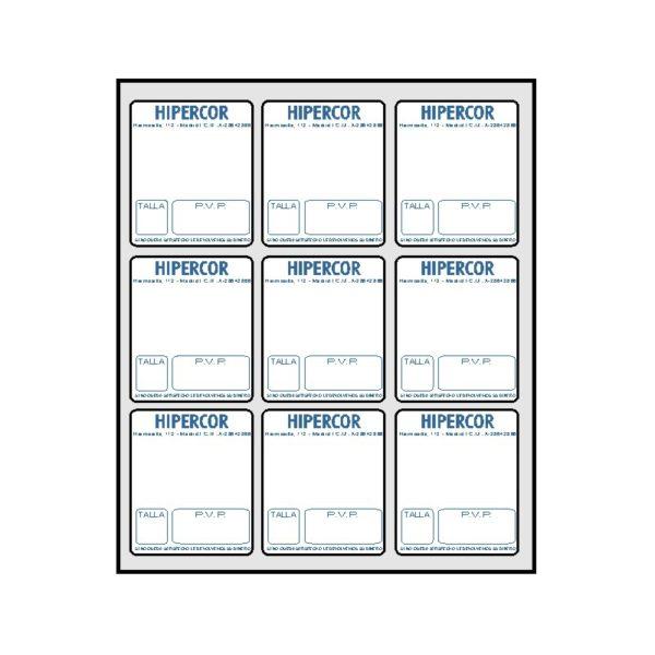 Etiquetas HIPERCOR 500 hojas SINEL 38,1 x 44,4