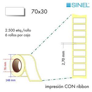 70x30 (76x148) Etiquetas Rollo Transferencia Térmica / 6x2500
