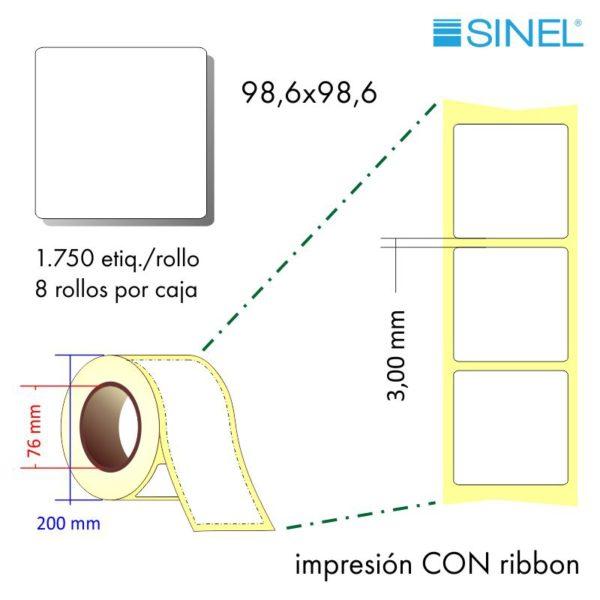98,6x98,6 (76x200) Etiquetas Rollo Transferencia Térmica / 8x1750