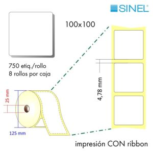 100x100 (25x125) Etiquetas Rollo Transferencia Térmica / 8x750