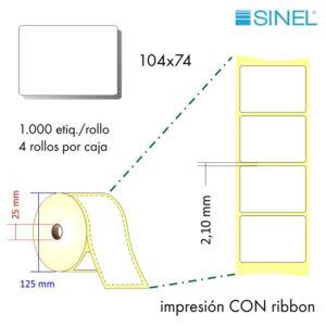 104x74 (25x125) Etiquetas Rollo Transferencia Térmica / 4x1000