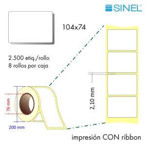 104x74 (76x200) Etiquetas Rollo Transferencia Térmica / 8x2500