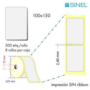 100x150 (25x125) Etiquetas Rollo Térmico Directo / 8x500