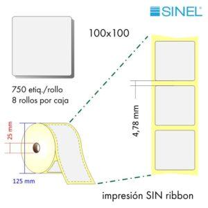 100x100 (25x125) Etiquetas Rollo Térmico Directo / 8x750