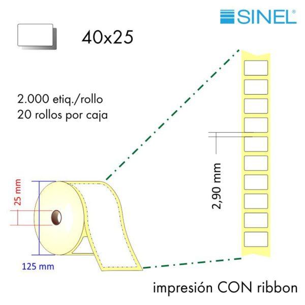 40x25 (25x125) / 20x2000 Etiquetas Rollo Transfer. Térmica