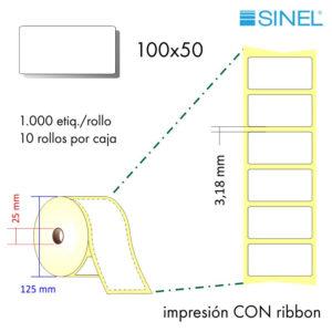 100x50 (25x125) Etiquetas Rollo Transferencia Térmica / 10x1000