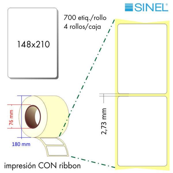 148x210 (76x180) REB.INT. Etiquetas Rollo Transferencia Térmica / 4x700