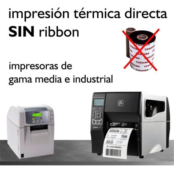 impresión térmica directa, sin ribbon