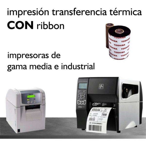 impresión transferencia térmica, con ribbon
