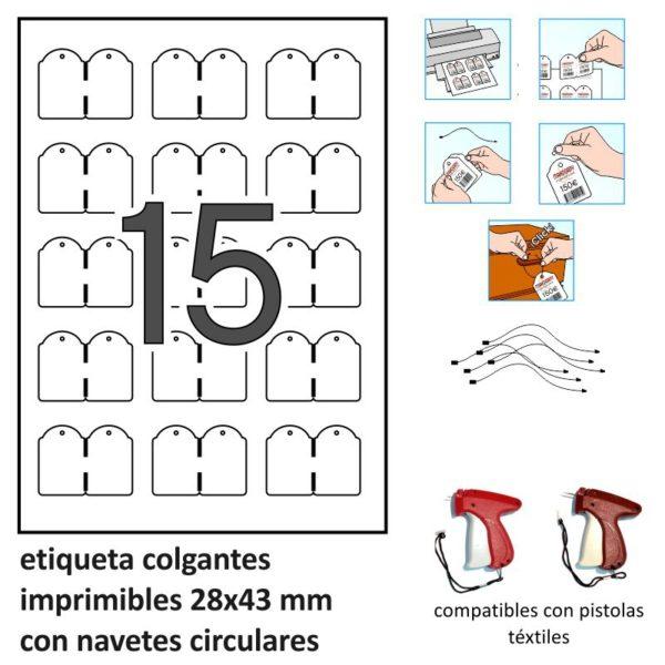 28 x 43 mm Etiquetas colgantes imprimibles - 10 x 15