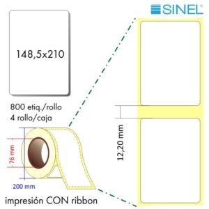 148,5x210 (76x200) Etiquetas Rollo Transferencia Térmica / 4x800