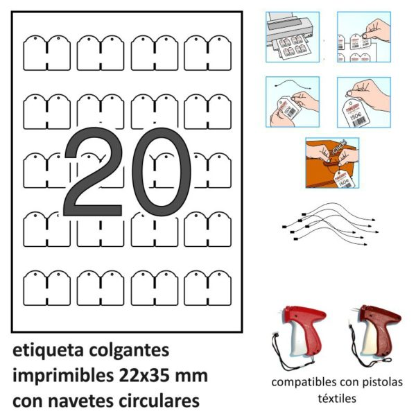 22 x 35 mm Etiquetas colgantes imprimibles APLI