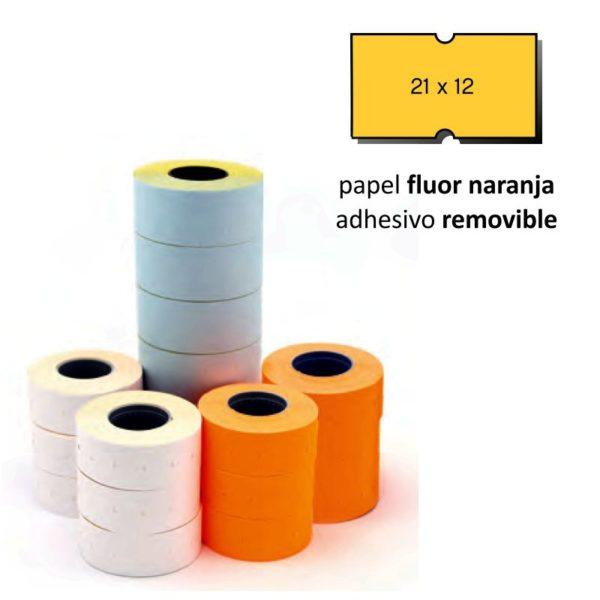 Etiquetas 21x12 naranja flúor removible pack de 6 rollos