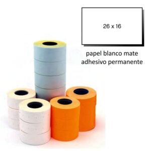 Etiquetas 26x16 blanco permanente pack de 6 rollos