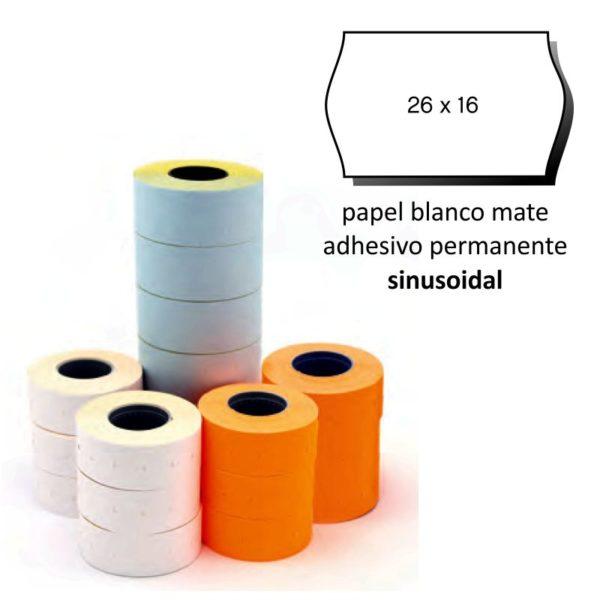 Etiquetas 26x16 blanco sinusoidal pack de 6 rollos