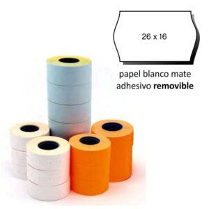 Etiquetas 26x16 blanco sinusoidal removible pack de 6 rollos
