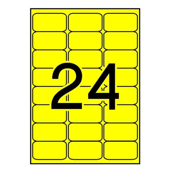 APLI 64 x 33,9 Etiquetas fluorescentes amarillo cantos romos 100 hojas