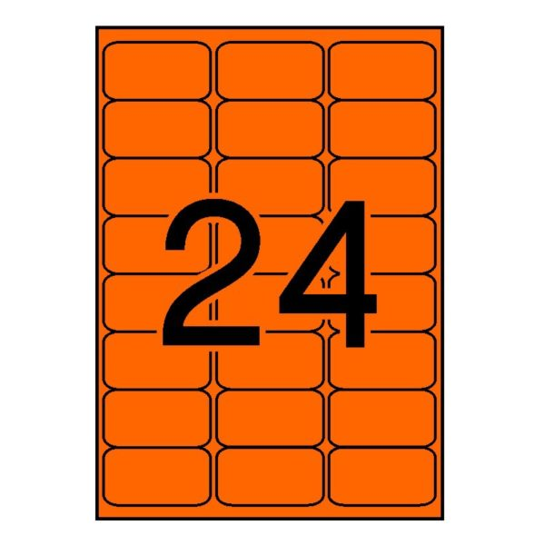 APLI 64 x 33,9 Etiquetas fluorescentes naranja cantos romos 100 hojas