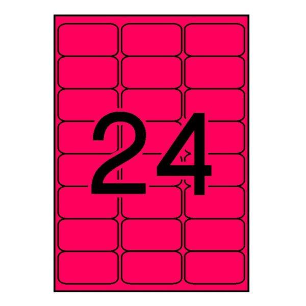 APLI 64 x 33,9 Etiquetas fluorescentes rojo cantos romos 100 hojas