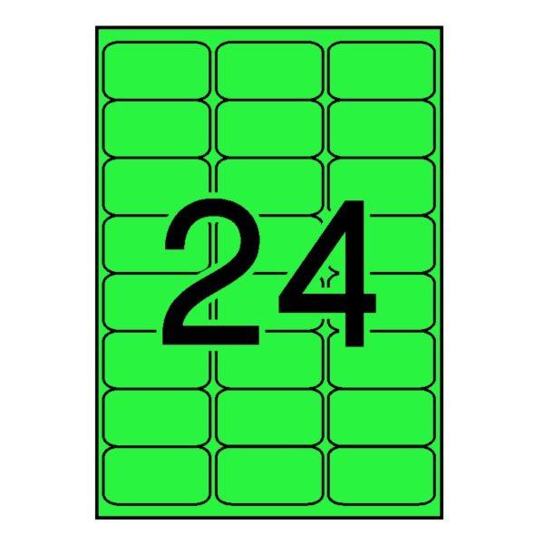APLI 64 x 33,9 Etiquetas fluorescentes verde cantos romos 100 hojas