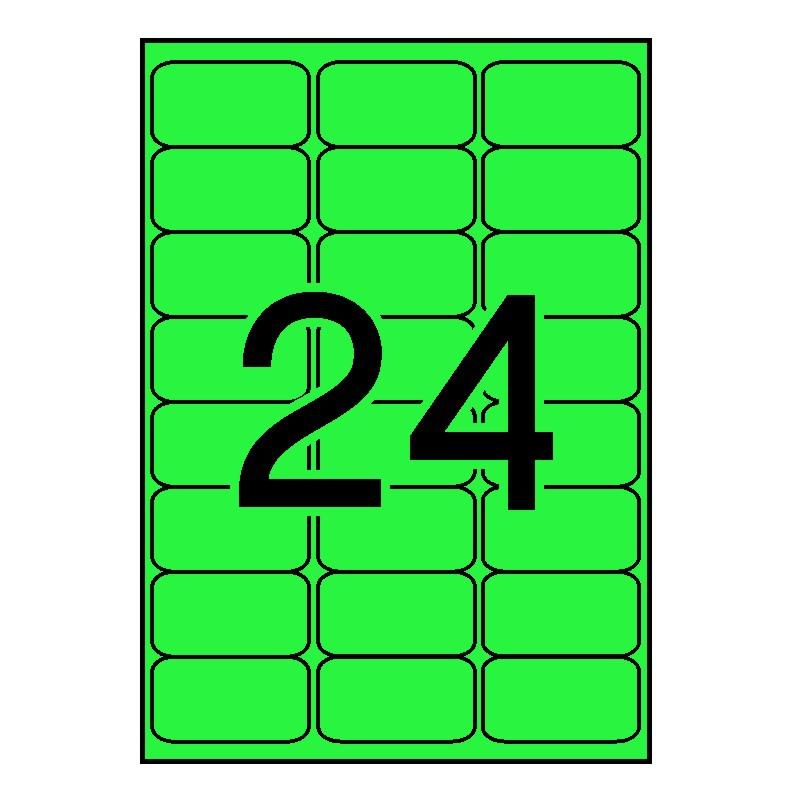 APLI 12984 Etiquetas verde fluorescente permanentes 64,0 x 33,9 mm 100 hojas