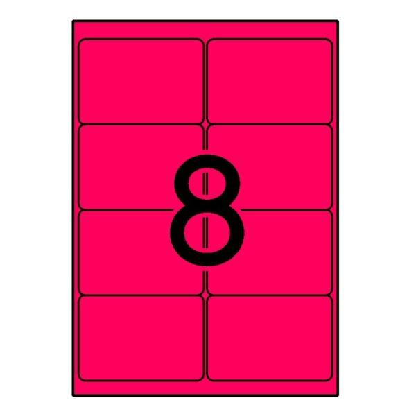 APLI 99,1 x 67,7 Etiquetas fluorescentes rojo cantos romos 100 h.