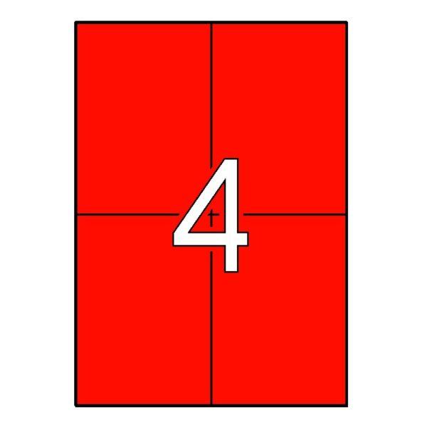 APLI 105 x 148 Etiquetas de color rojo cantos rectos 20 hojas