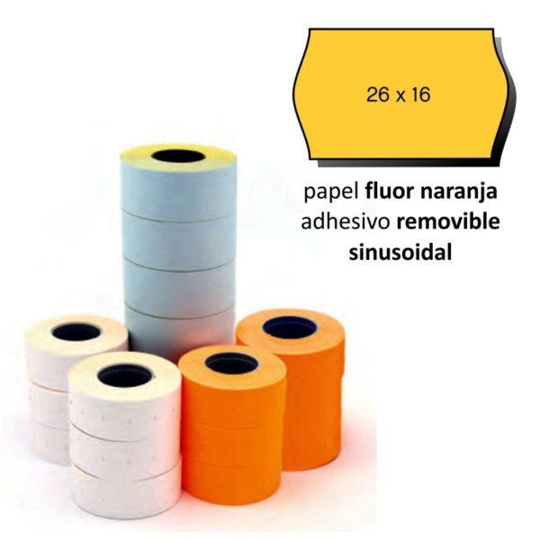 Etiquetas 26x16 naranja flúor sinusoidal removible pack de 6 rollos