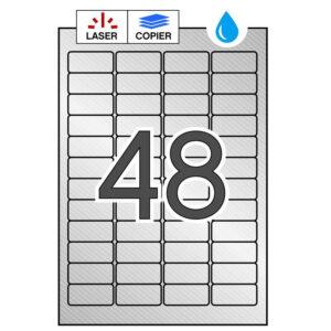 APLI 45,7 x 21,2 Etiquetas metalizadas plata cantos romos 100 hojas