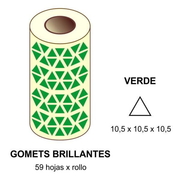 GOMETS VERDES EN ESTUCHE 10,5 x 10,5 x 10,5 MM