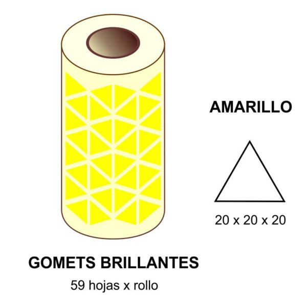 GOMETS AMARILLOS EN ESTUCHE 20 x 20 x 20 MM