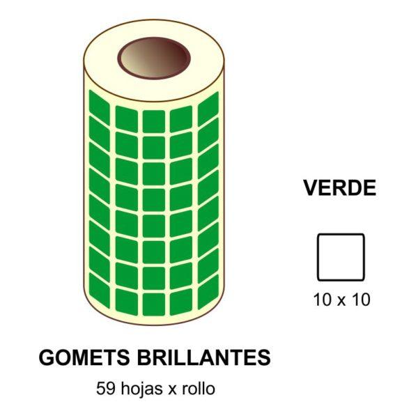 GOMETS VERDES EN ESTUCHE 10 x 10 MM