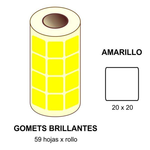 GOMETS AMARILLOS EN ESTUCHE 20 x 20 MM