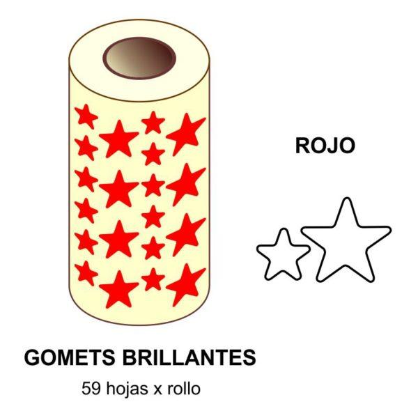 GOMETS ROJOS EN ESTUCHE ESTRELLA GRANDE - PEQUEÑA