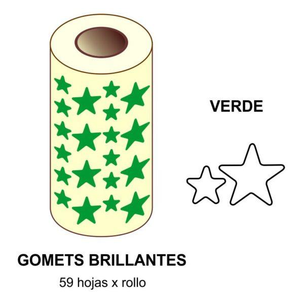 GOMETS VERDES EN ESTUCHE ESTRELLA GRANDE - PEQUEÑA