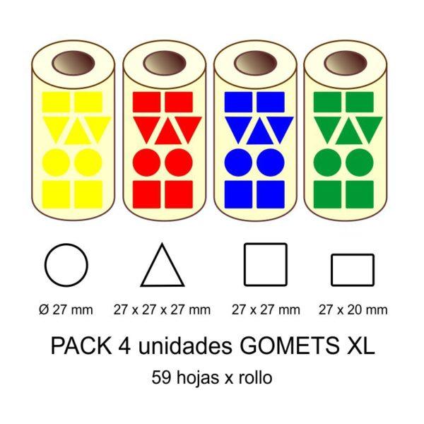 GOMETS GIGANTES XL EN PACK: amarillo, rojo, azul y verde