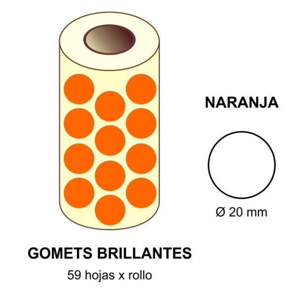 GOMETS NARANJAS EN ESTUCHE Ø 20 MM