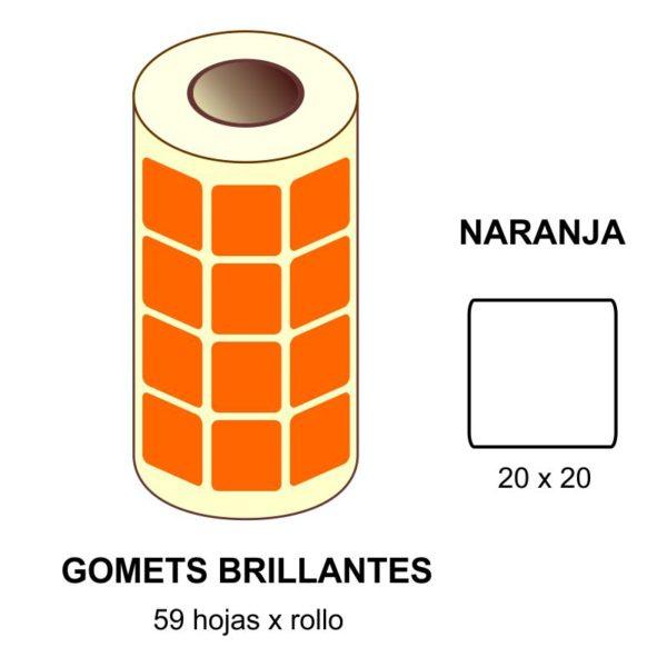 GOMETS NARANJAS EN ESTUCHE 20 x 20 MM