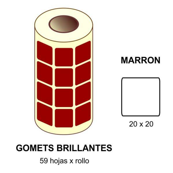 GOMETS MARRONES EN ESTUCHE 20 x 20 MM