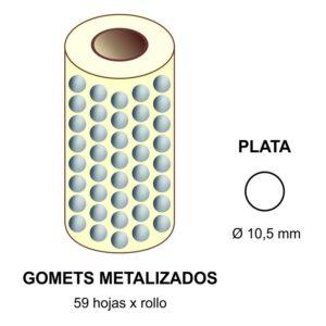 GOMETS METALIZADOS EN ESTUCHE: plata - Ø 10,5 mm