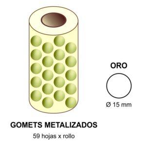 GOMETS METALIZADOS EN ESTUCHE: oro - Ø 15 mm
