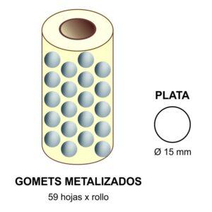 GOMETS METALIZADOS EN ESTUCHE: plata - Ø 15 mm