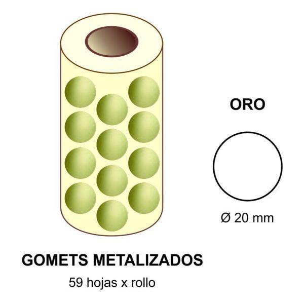 GOMETS METALIZADOS EN ESTUCHE: oro - Ø 20 mm