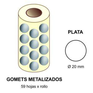 GOMETS METALIZADOS EN ESTUCHE: plata - Ø 20 mm