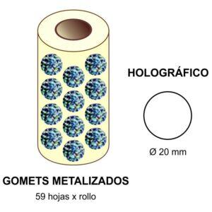 GOMETS METALIZADOS EN ESTUCHE: holográfico - Ø 20 mm