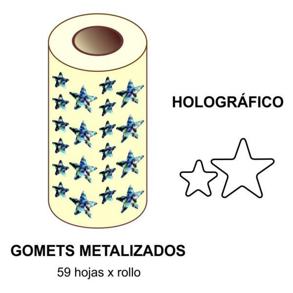 GOMETS METALIZADOS EN ESTUCHE: HOLOGRÁFICO ESTRELLA GDE. - PEQ.