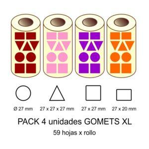 GOMETS GIGANTES XL EN PACK: marrón, rosa, lila y naranja