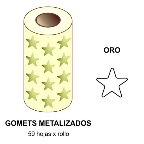 GOMETS METALIZADOS EN ESTUCHE: ORO ESTRELLA GRANDE