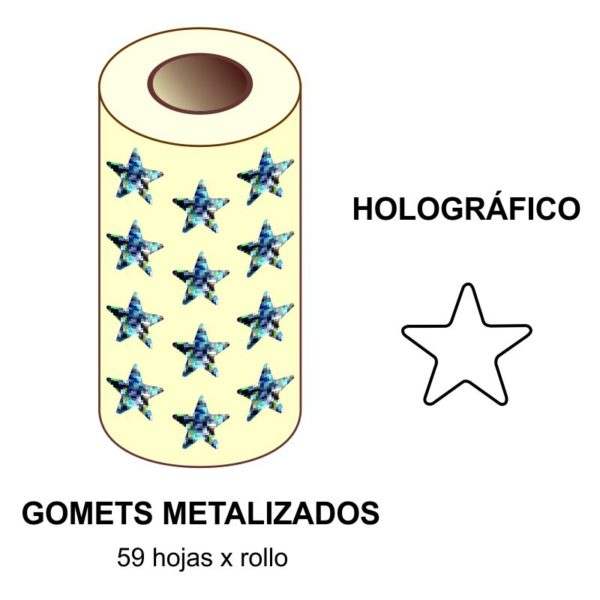 GOMETS METALIZADOS EN ESTUCHE: HOLOGRÁFICO ESTRELLA GRANDE