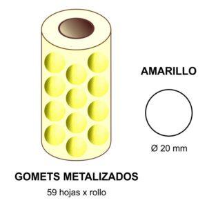 GOMETS METALIZADOS EN ESTUCHE: amarillo - Ø 20 mm